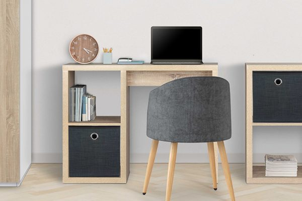 Flexi Storage Clever Cube 1 x 2 Cube Desk Oak used as a study