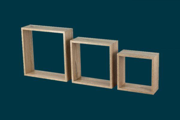 Flexi Storage Decorative Shelving Wall Mount Cubes Oak 3PK isolated