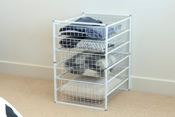 Flexi Storage Home Solutions 6 Runner Kit With Baskets White constructed and used as clothes storage