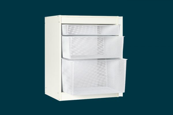 Flexi Storage Home Solutions 6 Runner Timber Frame White with Mesh Baskets