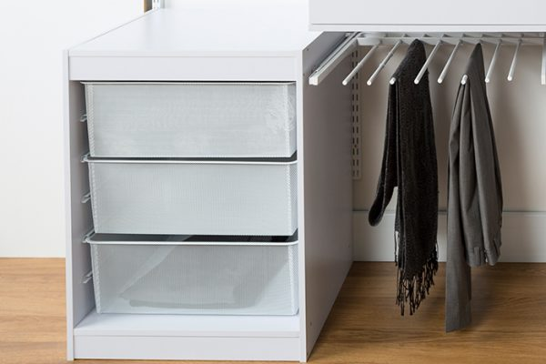 Flexi Storage Home Solutions 6 Runner Timber Frame White with Mesh Baskets and used as part of a Home Solutions system