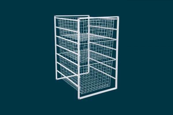 Flexi Storage Home Solutions 7 Runner Frame White constructed with 435mm Cross Bars and fitted with Wire Baskets