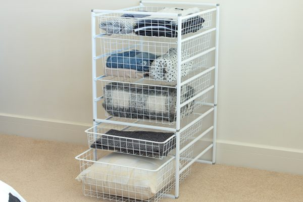 Flexi Storage Home Solutions 8 Runner Kit With Baskets White constructed and used as clothes storage