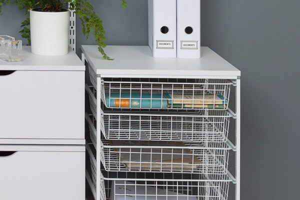Flexi Storage Home Solutions Full Width Wire Basket 1 Runner 85mm fitted to Home Solutions Runner Frame system in a office setup