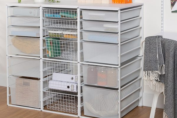 Flexi Storage Home Solutions Full Width Wire Basket 3 Runner 285mm installed in Runner Frame System in office setup