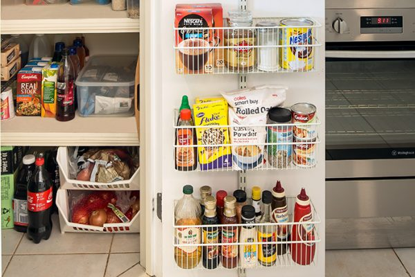 Flexi Storage Home Solutions Large Deep Storage Basket White fitted on Double Slot Wall Strip and used for pantry storage
