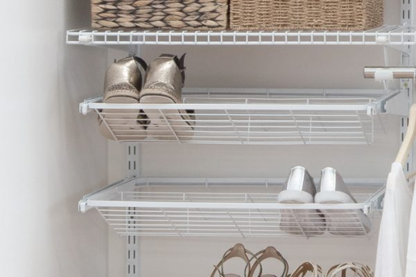 Flexi Storage Home Solutions Sliding Shoe Rack For Flats White fitted in a wardrobe setup