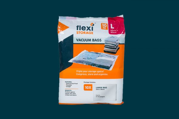 Flexi Storage Vacuum Storage Bag 10 Pack Large packaging isolated