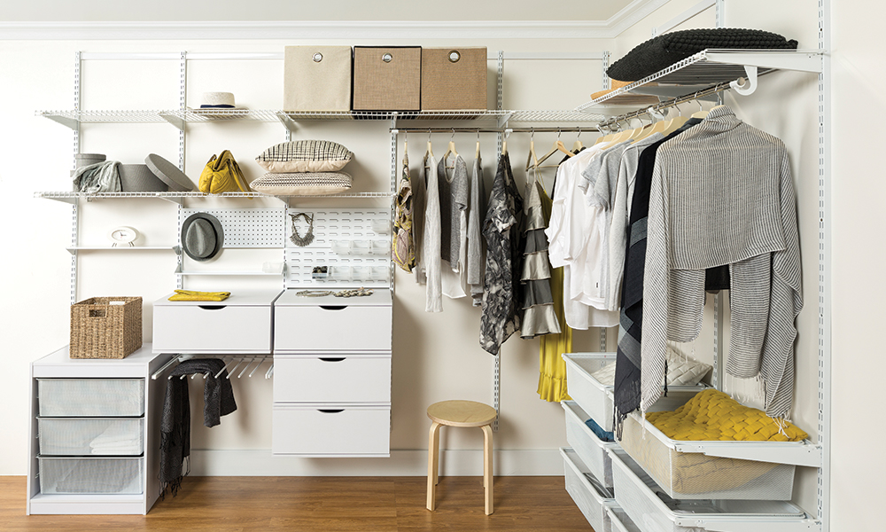 Flexi Storage Home Solutions Double Slot System used as a Wardrobe