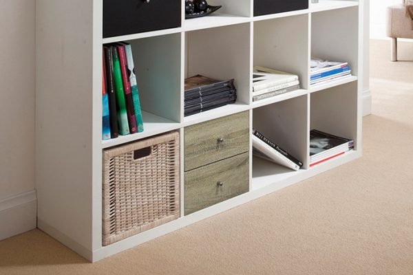 Flexi Storage Clever Cube Timber Insert 2 Drawer Oak installed in Flexi Storage Clever Cube Unit