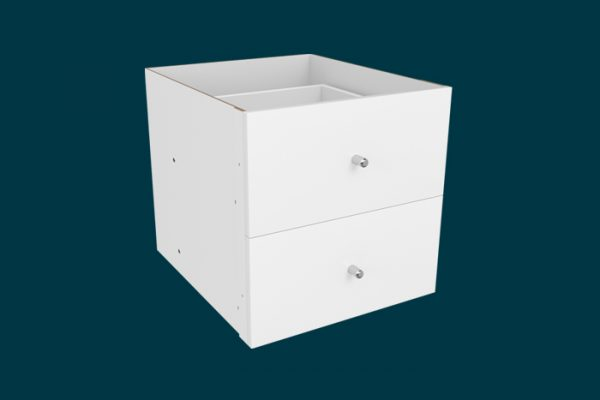 Flexi Storage Clever Cube Timber Insert 2 Drawer White High Gloss isolated