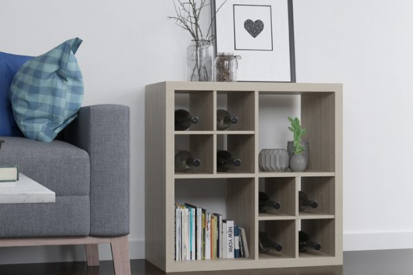 Flexi Storage Clever Cube Timber Insert Divider Oak installed in Flexi Storage Clever Cube Unit