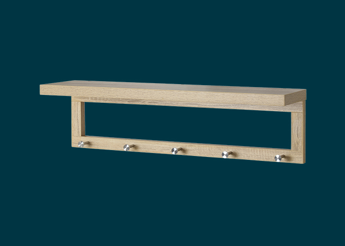 Coat Shelf With Hooks Oak