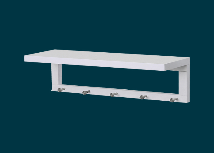 Coat Shelf With Hooks White