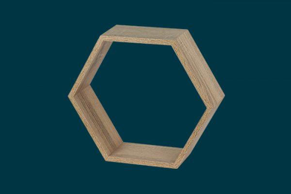 Flexi Storage Decorative Shelving Hexagonal Wall Shelf Oak isolated