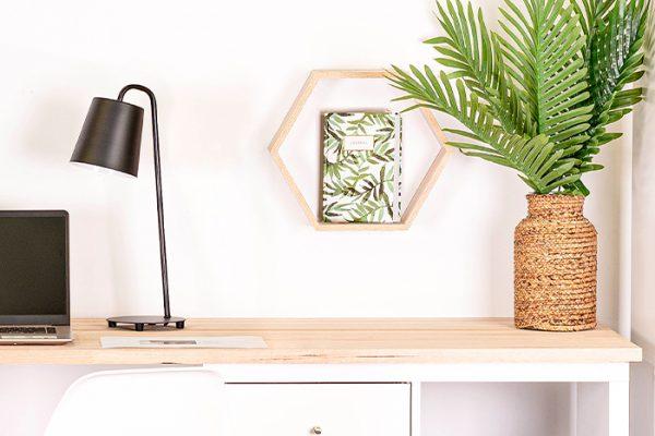 Flexi Storage Decorative Shelving Hexagonal Wall Shelf Oak installed on wall in office setup