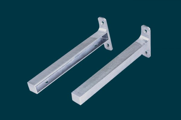 Flexi Storage Decorative Shelving Timber Shelf End Brackets Left and Right 200mm Aluminium isolated