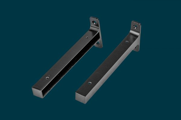 Flexi Storage Decorative Shelving Timber Shelf End Brackets Left and Right 200mm Matt Black isolated