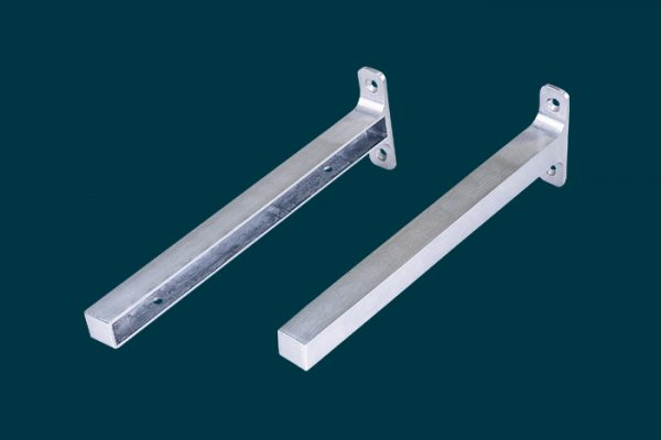 Flexi Storage Decorative Shelving Timber Shelf End Brackets Left and Right 250mm Aluminium isolated