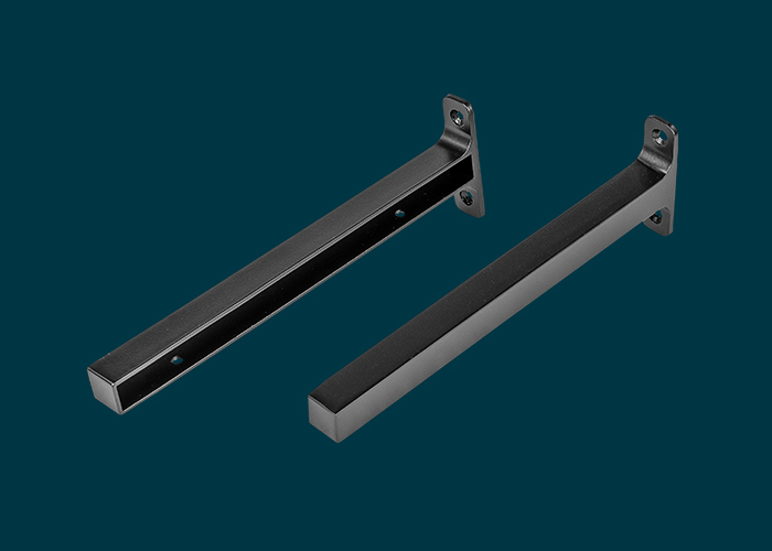 Timber Shelf End Brackets Left & Right 250mm Matt Black