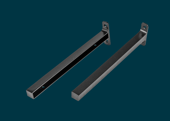 Timber Shelf End Brackets Left & Right 300mm Matt Black