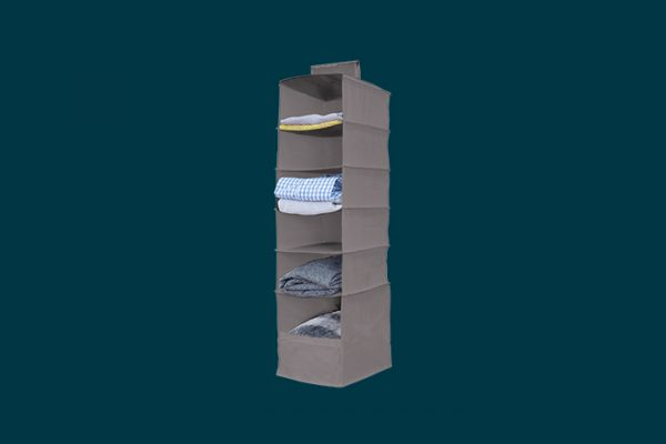 Flexi Storage 6 Shelf Hanging Organiser filled with clothing