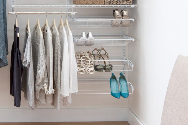 Flexi Storage Home Solutions Sliding Shoe Rack For Heels White installed in Flexi Storage Home Solutions Double Slot System